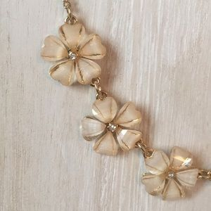 Cream & gold floral necklace